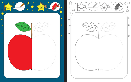 Preschool worksheet for practicing fine motor skills - tracing dashed lines - finish the illustration of an apple