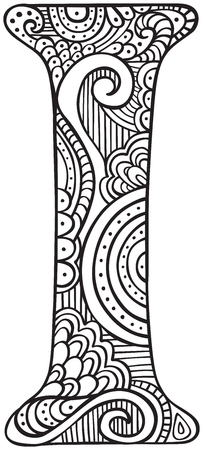Hand drawn capital letter I in black - coloring sheet for adults Vettoriali
