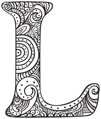 Hand drawn capital letter L in black - coloring sheet for adults Vectores