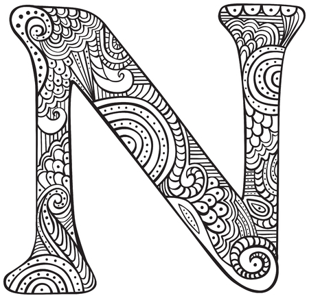 Letra maiúscula desenhada mão na folha preta para colorir para adultos