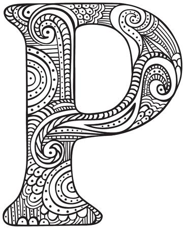 Lettre majuscule dessiné à la main P en noir - feuille à colorier pour les adultes