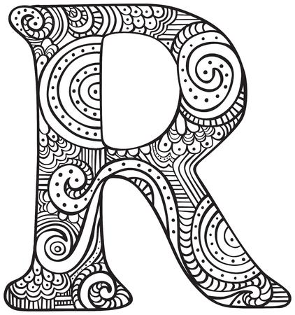 Lettre majuscule dessiné à la main R en noir - feuille à colorier pour les adultes Banque d'images - 84360136