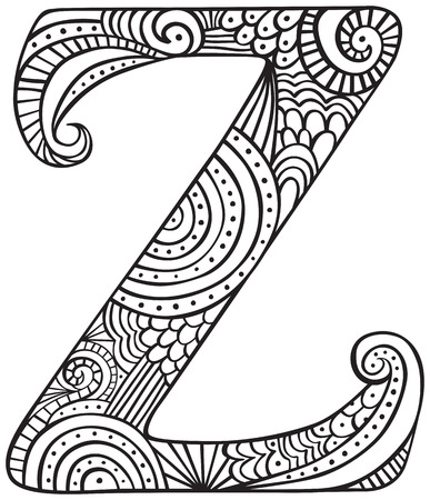 Hand drawn capital letter Z in black - coloring sheet for adults