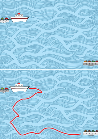 Easy ferry maze for younger kids with a solution Banco de Imagens - 84360145