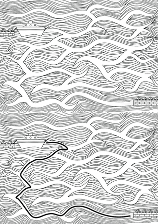 Easy ferry maze for younger kids with a solution in black and white Ilustração