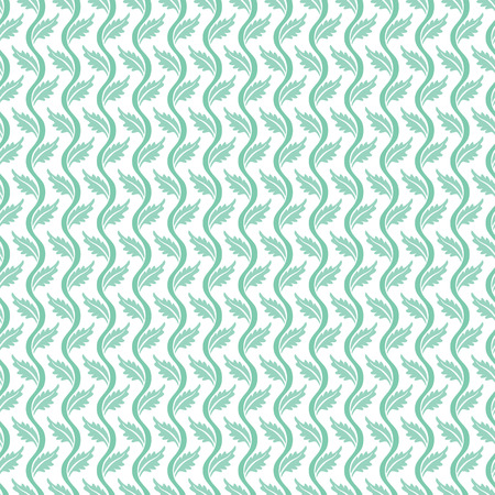 Seamless illustrated pattern made of turquoise leaves and waves on white