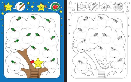 Preschool worksheet for practicing fine motor skills - tracing dashed lines of apples illustrations
