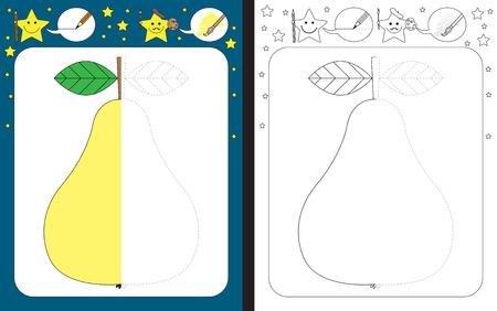 Preschool worksheet for practicing fine motor skills - tracing dashed lines - finish the illustration of pear Illusztráció