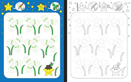 Preschool worksheet for practicing fine motor skills - tracing dashed lines of illustrated clover leaves Illusztráció