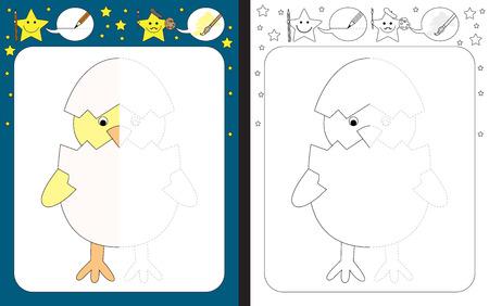 Preschool worksheet for practicing fine motor skills - tracing dashed lines - finish the illustration of chicken Çizim
