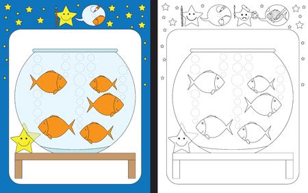 Hoja de trabajo preescolar para practicar habilidades motrices finas: trazar líneas punteadas de burbujas de aire en una pecera Ilustración de vector