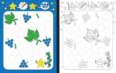 Preschool worksheet for practicing fine motor skills - tracing dashed lines of grapes