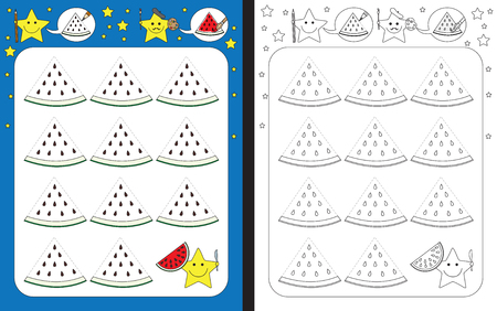 Preschool worksheet for practicing fine motor skills - tracing dashed lines - finish the illustration of watermelon slices