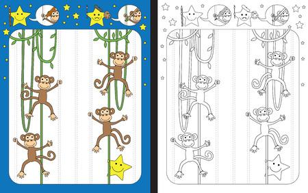 Hoja de trabajo preescolar para practicar habilidades motrices finas - trazar líneas punteadas - terminar la ilustración de vides con monos Ilustración de vector