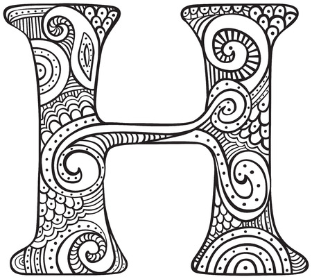 Hand drawn capital letter H in black - coloring sheet for adults