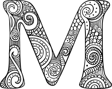 Lettre majusculée à main M en noir - feuille de coloriage pour adultes