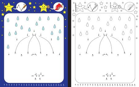 Hoja de trabajo preescolar para practicar habilidades motrices finas y reconocer números - conectar puntos por números - dibujar la ilustración del paraguas