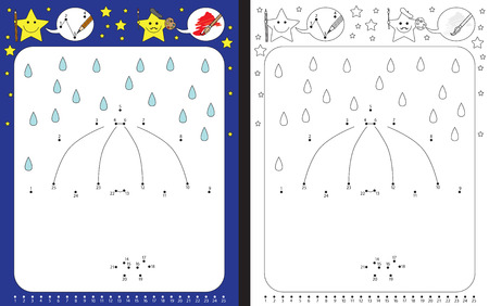 cartoon umbrella: Preschool worksheet for practicing fine motor skills and recognizing numbers - connecting dots by numbers - drawing illustration of umbrella