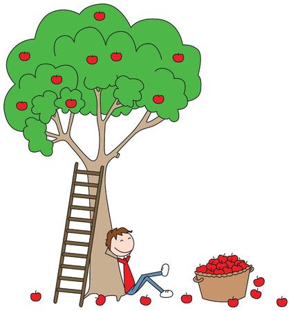Cartoon illustration of a boy sitting under apple tree with basket full of apples beside him Ilustração