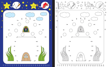 Preschool worksheet for practicing fine motor skills and recognizing numbers - connecting dots by numbers - drawing a mushroom