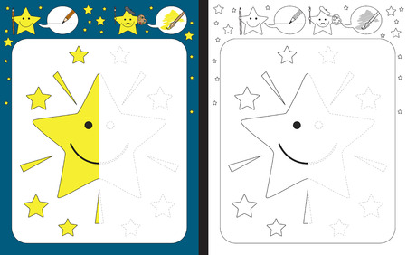 Preschool worksheet for practicing fine motor skills - tracing dashed lines - finish the illustration of cartoon star Иллюстрация