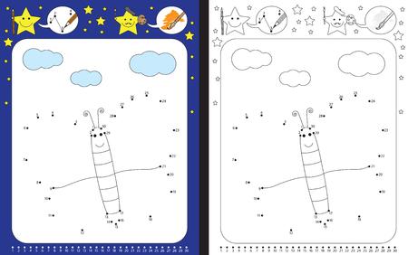 Hoja de trabajo preescolar para practicar habilidades motrices finas y reconocer números - conectar puntos por números - dibujar la ilustración de una mariposa