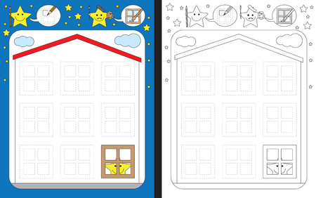 Preschool worksheet for practicing fine motor skills - tracing dashed lines of windows on a house