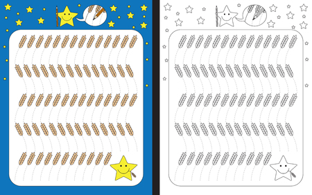 Preschool worksheet for practicing fine motor skills - tracing dashed lines of wheat stems Illusztráció