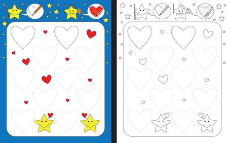 Preschool worksheet for practicing fine motor skills - tracing dashed lines of hearts Illusztráció