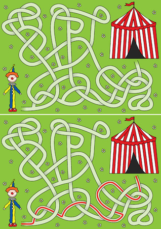 Clown maze for kids with a solution 向量圖像