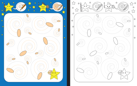 Preschool worksheet for practicing fine motor skills - tracing dashed lines of seashell