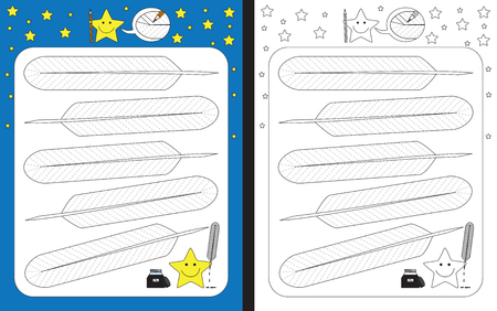 Preschool worksheet for practicing fine motor skills - tracing dashed lines on feathers