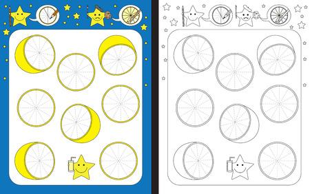 Preschool worksheet for practicing fine motor skills - tracing dashed lines of lemon slices