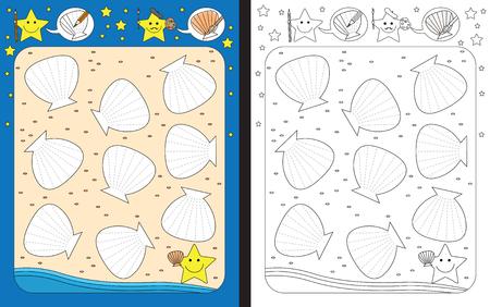 hoja de cálculo preescolar para ayudar a las competiciones de motricidad - líneas de obstáculos que descienden de conchas en una playa