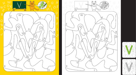 Worksheet for practicing letter recognition and fine motor skills - color only fields with letter V