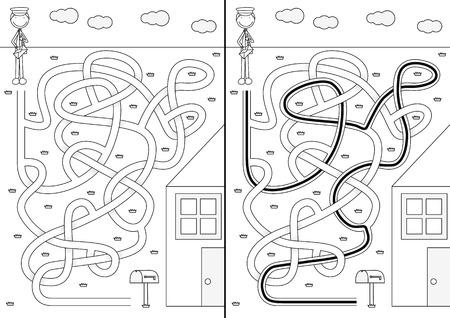 Postman doolhof voor kinderen met een oplossing in zwart en wit Stock Illustratie