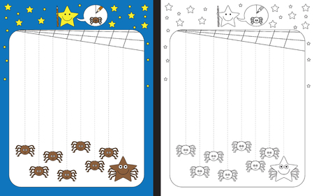 Preschool worksheet for practicing fine motor skills - tracing dashed lines from cobweb to spiders