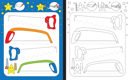 Preschool worksheet for practicing fine motor skills - tracing dashed lines of saw blades