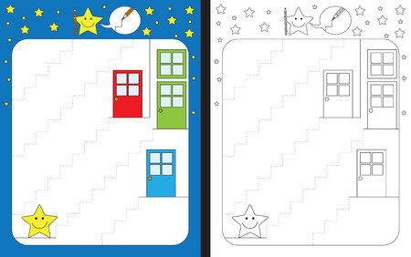 Preschool worksheet for practicing fine motor skills - tracing dashed lines of stairs