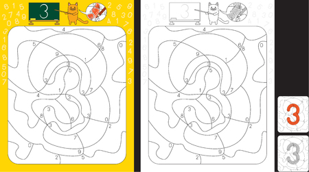 Worksheet for practicing number recognition and fine motor skills - color only fields with number three
