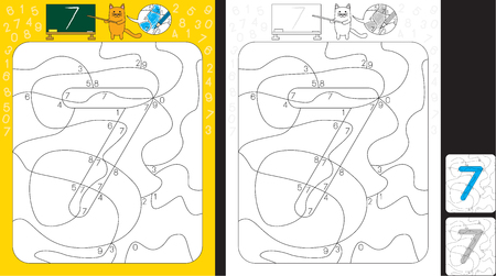 Worksheet for practicing number recognition and fine motor skills - color only fields with number seven