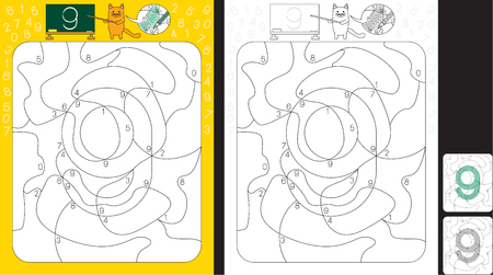 Worksheet for practicing number recognition and fine motor skills - color only fields with number nine