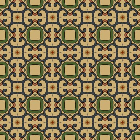 pink and black: Seamless illustrated pattern made of abstract elements in beige,green, blue, yellow,pink and black