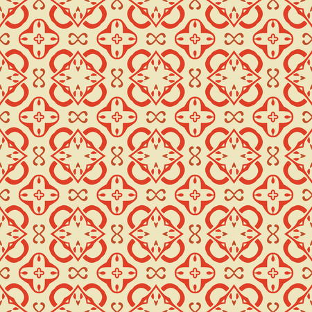 Seamless illustrated pattern made of abstract elements in beige and red