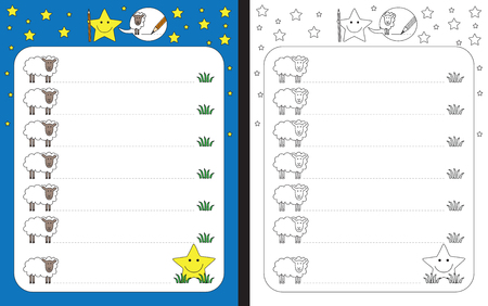 Preschool worksheet for practicing fine motor skills - tracing dashed lines from sheep to grass