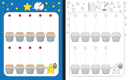 Preschool worksheet for practicing fine motor skills - tracing dashed lines of cherries falling on cake cups