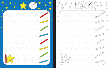Preschool worksheet for practicing fine motor skills - tracing dashed lines of crayon trails Иллюстрация