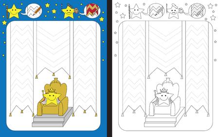 Preschool worksheet for practicing fine motor skills - tracing dashed lines of decorative flags Illusztráció
