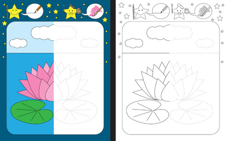 pink and black: Preschool worksheet for practicing fine motor skills - tracing dashed lines - finish the illustration of water lily Illustration