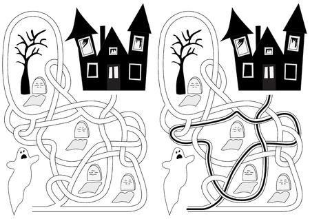Graveyard doolhof voor kinderen met een oplossing in zwart en wit
